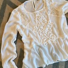 New ANTHROPOLOGIE Womens White Lace Crochet Detail Boho Hippie Top Blouse Medium