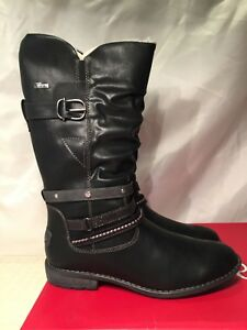 s.Oliver Womens 56416 Black Faux Leather Cowboy Winter Boots size UK 7 rrp£75