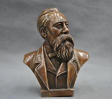 """7"""" China Pure Bronze Communist Friedrich Von Engels Bust Statue"""