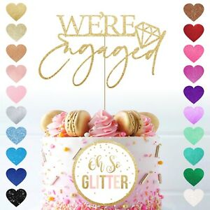 We're engaged glitter Cake Topper engagement topper Bridal Shower deco were