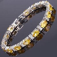 Sarotta Jewelry Oval Cut Yellow Citrine White Gold Plated Tennis Bracelet