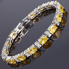 Sarotta Jewelry Oval Cut Yellow Citrine White Gold Plated Tennis Bracelet