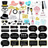 53pcs Wedding Photo Props Booth DIY Mask Mustache Stick Birthday Party Decor
