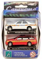 1:72 Scale Cararama Twin Pack - Mercedes Benz - Police & Fire Brigade - BNIB