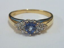 Ladies 18ct Gold Sapphire & 14pt Diamond Heart Half Hoop Cluster Ring - Size Q