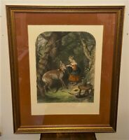 Antique Sir Edwin Landseer THE PETS Hand Colored Engraving by Alfred Lucas, 1877