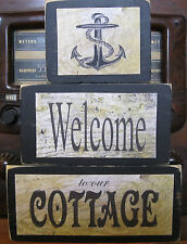 Welcome to Our Cottage Nautical Primitive Rustic Stacking Blocks Wooden Sign Set