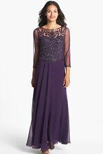 New J KARA Beaded Bodice Mesh Gown Dress Plum Wine Purple Size 6