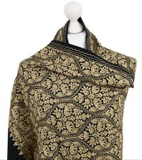Black Gold Indian 100% Pashmina Wool Hand Embroidered Shawl Wrap Scarf Kashmir