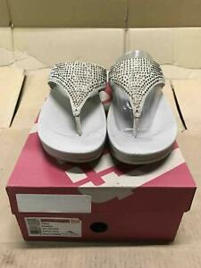 FITFLOP WOMEN FLARE CRYSTAL SHIMMER SANDALS SUEDE LEATHER PEBBLE