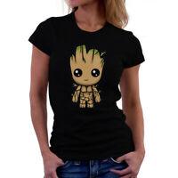 I AM Groot Cute Women Funny T-shirts Short Sleeve Cotton Tops Shirts Black Tee