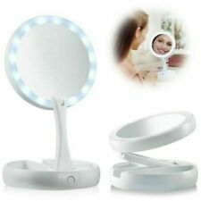 Makeup Mirror LED Light Up Double Side Folding 10x Magnifying Tabletop Portable