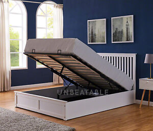 Ottoman Storage Bed Gas Lift Up Double King Size Wooden White Grey Solid Wood