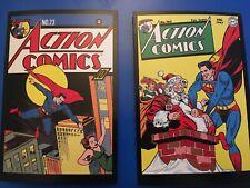 Vintage style (2) SuperMan DC Comics postcards, mint! Superheroes! Action Comics