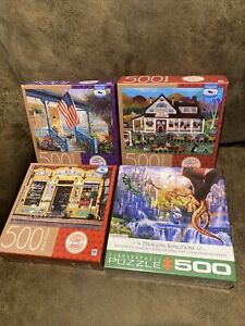 Puzzle Lot (4) 500 Pc, MB by Premium Quality Blue Board, & Eurographics. Sealed