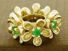 s Bd092 Large Genuine 9ct Solid Gold Natural Emerald Blossom Garland Bead Charm