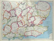 Antique Map Of England 1947 London South East Hampshire Essex Sussex Norfolk