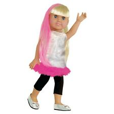 """Doll Clothes Fit 18"""" Dress Silver Pink Feathers Pants Capri Black Fits Ag Dolls"""