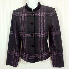 KASPER A.S.L. PETITE Sz 6P Wool Blend Purple Black Plaid Shimmery Blazer Jacket