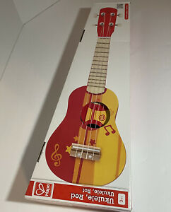 Hape Kid's Wooden Toy Ukulele in Red L 21.9 W 8.1 H 3 inch Pre-owned With Box 3+