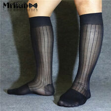 3Pairs Lot Men's Black Nylon Striped Sheer Socks,Knee High Long TNT Dress Socks