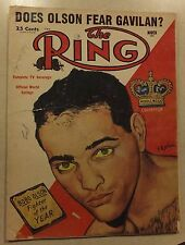 THE RING MARCH 1954 MAGAZINE BOBO OLSON MIDDLEWEIGHT CHAMP KID GAVILAN BOXING