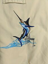 Guy Harvey Womens AFTCO Bluewater Marlin Long Sleeve Biege Fishing Shirt Large