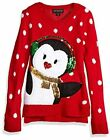 Blizzard Bay Girls Ugly Christmas Sweater Penguin, red, Red Combo, Size 0.0