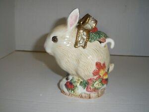 Fitz & Floyd Classis Rabbit Bunny Jam Pot with Spoon   Glass Eyes