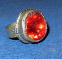 "Ring Fashion Circle Red Afghan Kuchi Tribal Alpaca Silver 1"" Size 7 to 9"