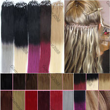 """Ombre 16-26"""" Micro Ring Beads Easy Loop Tip Remy Human Hair Extensions Straight"""