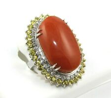 Oval Blood Red Coral & Sapphire & Diamond Solitaire Ring 14k White Gold 30.69Ct
