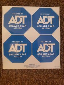 4 NEW ADT SECURITY WINDOW/DOORS STICKERS/DECALS WATERPROOF & UV RESISTANT