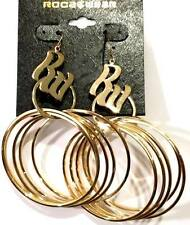 "ROCAWEAR Gold Tone (4"") Hoop Fashion Earrings (MSRP: $22) - NWT"