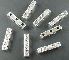 100pcs Tibetan Silver 3holes Rectangle Connectors 16x3x3mm 10499