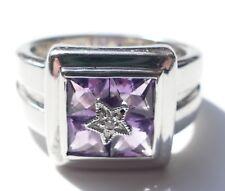 Designer Ring 4 Amethyste 1 Zirkonia 925 Silber satiniert Vintage 70er ring