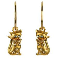 Boucles d'oreilles créoles plaqué or chat doré  cristal Swarovski blanc