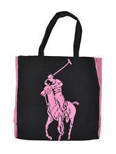 Polo Ralph Lauren Black Canvas RL 2000 Pink Pony Logo Tote Bag New