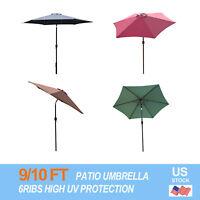 9/10FT Outdoor Patio Umbrella Canopy Market Shelter Tilt W/Crank Red/Brown/Black