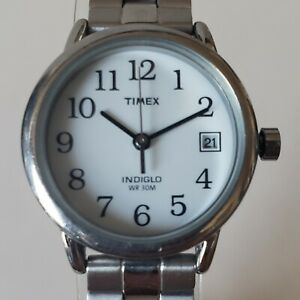 Authentic TIMEX Women's Silver Tone Indiglo Quartz Date Watch WR30 New Battery