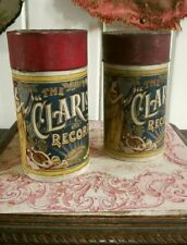 Pair Antique Clarion Brown Wax Cylinder Records - 1908 Teddy Bear's Picnic