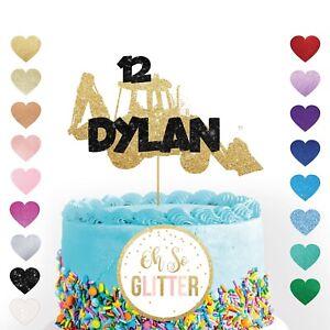 Custom Digger Cake Topper Glitter Cake Name Personalised Age boys birthday truck
