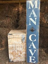 "Large Rustic Wood Sign - ""Man Cave"" - Vertical - 3 Feet! - Bottle Opener"