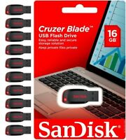 Sandisk 16GB Cruzer Blade USB 2.0 Flash Drive Memory Stick Wholesale lot of 10