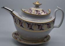 ANTIQUE JOHN ROSE COALPORT TEAPOT AND STAND - GILDED AND PAINTED Circa 180