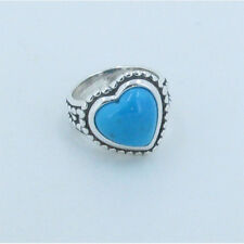 .925 Sterling Silver Natural Blue Sleeping Beauty Turquoise Tilted Ring Size 6