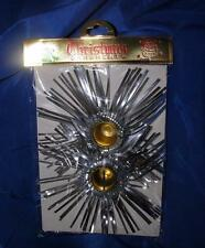 Vtg Made Japan 1960'S Unused Pair Silver Foil Xmas Tinsel Candle Holders, iop