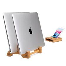 AVLT - Bamboo Vertical Stand Holder Organizer for Macbook w/ Phone Holder Stand