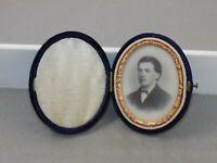 "2"" Antique Opalotype Milk Glass Photo Young Man Civil War Era Velvet Case c1867"