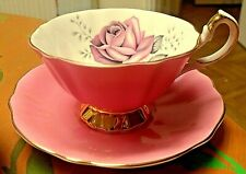 Vintage Queen Anne Pink White & Pink Rose Cup & Saucer Gilded